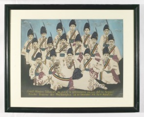 Hand colored photograph of Calusarii dancers in traditional costumes