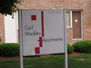 Mackley Apartments, construction and historic registry signage located on M Street