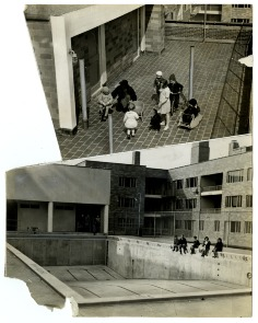 Daycare at the Carl Mackley Houses; Young residents await the start of summer beside the complex's empty swimming pool