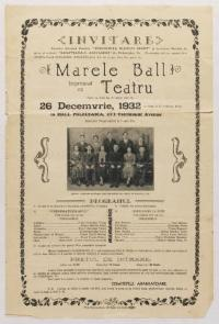 Invitation to the Grand Christmas Ball and Theater on December 26, 1932