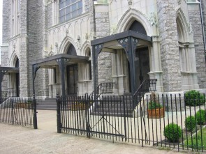 Detailed photograph of the entrance to St. Adalbert parish
