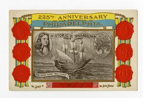 """Postcard from the 225th anniversary of the founding of Philadelphia celebration (1908)"