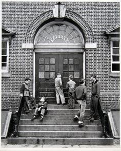 Boys on steps at the Lighthouse building. Image provided by Historical Society of Pennsylvania