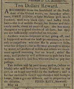 Runaway Advertisement seeking the return of Ona Judge, 1796.