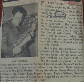Nat Segall, pictured in a July 9, 1945 Philadelphia Inquirer article on the Downbeat Club