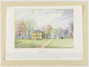 watercolor image of the Woodford mansion