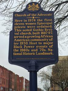 The Church of the Advocate's historic plaque