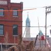 Crane Co. building and St. Michael's Church steeple. Image provided by Historical Society of Pennsylvania
