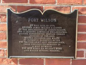 Historical marker of Fort Wilson on exterior of Fort Wilson location.
