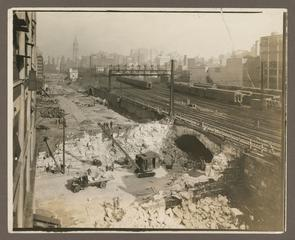 Construction of Tunnel Underneath Broad Street Station's Tracks. (note: City Hall and The Main Station building in the far distance.)